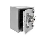 Rendering of steel safe box with open door, isolated on white background. 3d rendering of a steel safe box with open door, isolated on a white background Royalty Free Stock Image