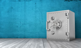 Rendering of steel safe box standing on wooden floor. 3d rendering of a steel safe box standing on wooden floor on the background of blue wall. Keeping money Royalty Free Stock Photo