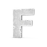 Rendering of stone letter F isolated on white background. Royalty Free Stock Photo
