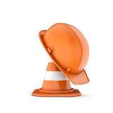 Rendering of striped traffic cone and helmet on it Royalty Free Stock Image