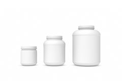 Rendering three blank white plastic jars of different sizes. 3d rendering of three blank white plastic jars of different sizes isolated on white background. Cans Stock Photo