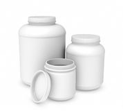Rendering three blank white plastic jars of different sizes. 3d rendering of three blank white plastic jars of different sizes isolated on white background. Cans Stock Image