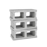 Rendering of three cinder blocks isolated on the white background Stock Photography