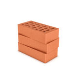 Rendering of three face bricks isolated on a white background Stock Photography