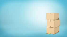 Rendering of three light beige cardboard mail box, on the blue background Royalty Free Stock Image