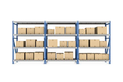 Rendering three metal racks put together with beige cardboard boxes of different size stored there, isolated on the Royalty Free Stock Images