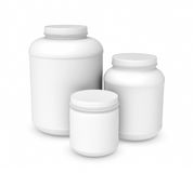 Rendering three white blank plastic jars of different sizes. 3d rendering of three white blank plastic jars of different sizes, isolated on white background Royalty Free Stock Photography