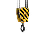 Rendering of tower crane hook isolated on the white background. Royalty Free Stock Images