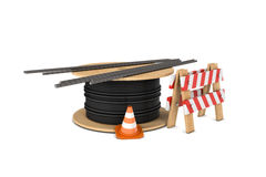 Rendering of traffic cone, fence, cable coiler and several reinforcement bars isolated on white background. Royalty Free Stock Photo