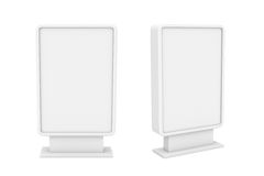 Rendering of two small white blank street billboards without ads. 3d rendering of two small white blank street billboards without ads isolated on white Royalty Free Stock Photos