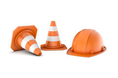 Rendering of two striped road cones and helmet, all isolated on white background. Royalty Free Stock Photo