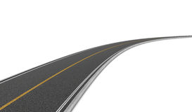 Rendering of two-way road bending to right on white background. Royalty Free Stock Photos