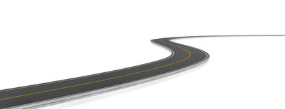 Rendering of two-way road bending, on white background. 3d rendering of a two-way road bending, on a white background. Change of direction. New horizons and stock illustration