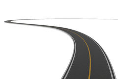 Rendering of two-way winding road bending to the left on white background. 3d rendering of a two-way winding road bending to the left on a white background Stock Photo