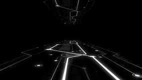 Rendering of virtual sci-fi spaceship platform with glowing network on the floor.
