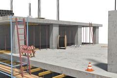 Rendering w budowie na białym tle budować Obraz Stock