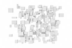 Rendering white cubes isolated. 3d rendering of white cubes isolated on white background. Computer graphic. Geometric figures Stock Photo