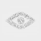 Rendering white eye icon made up of many square uneven blocks. Stock Image