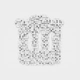 Rendering white recycle bin icon made up of many square uneven blocks. Royalty Free Stock Photos