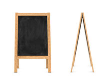 Rendering of wooden easel with black chalkboard isolated on the white background. 3d rendering of a wooden easel with black chalkboard isolated on the white Stock Photography