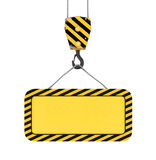 Rendering of yellow board hanging on hook with two ropes. 3d rendering of yellow board hanging on a hook with two ropes isolated on the white background Royalty Free Stock Images
