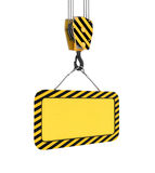 Rendering of yellow board hanging on hook with two ropes. 3d rendering of yellow board hanging on a hook with two ropes isolated on the white background Stock Photography