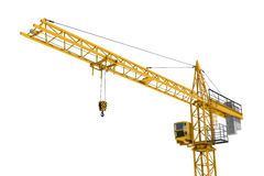 Rendering of yellow construction crane isolated on white background. 3D rendering of a yellow construction crane isolated on a white background. Construction Royalty Free Stock Image