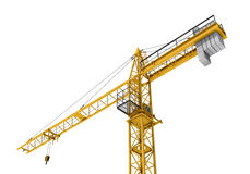 Rendering of yellow construction crane isolated on the white background. Royalty Free Stock Photography