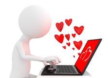 Rendez de la personne chating avec l'ordinateur portable illustration libre de droits