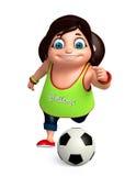 Rendez de la petite fille avec jouer le football Images libres de droits