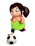 Rendez de la petite fille avec jouer le football Photos libres de droits