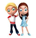 Rendez de Little Boy et la fille avec des thums posent  Image stock