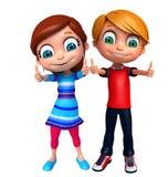 Rendez de Little Boy et la fille avec des thums posent  Photo libre de droits