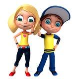 Rendez de Little Boy et la fille avec des thums posent  Photos stock