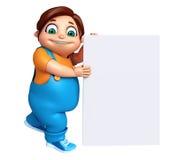 Rendez du petit garçon avec le conseil blanc Photo stock