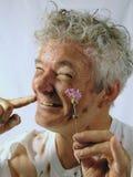Rendez-vous à l'aveugle modifié d'homme aîné Photographie stock libre de droits