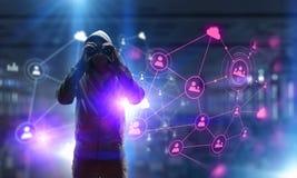 Rendez-vous compte de l'attaque de pirate informatique Media mélangé Image stock