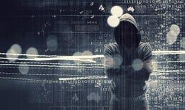 Rendez-vous compte de l'attaque de pirate informatique Media mélangé Photo stock