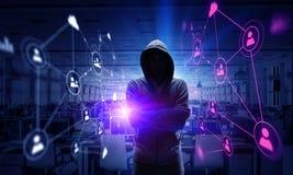 Rendez-vous compte de l'attaque de pirate informatique Media mélangé Photos stock