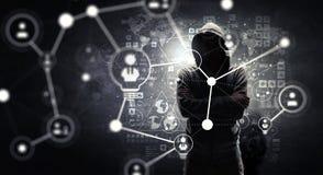 Rendez-vous compte de l'attaque de pirate informatique Media mélangé Media mélangé Photo stock