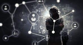 Rendez-vous compte de l'attaque de pirate informatique Media mélangé Media mélangé Photographie stock libre de droits