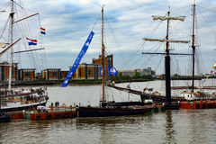 Rendez-Vous högväxt Themsen 2017 för den skeppregattaGreenwich floden Arkivfoto