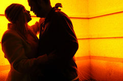 Rendez-vous at night. A couples silhouette during a romantic meeting in the night Stock Photo