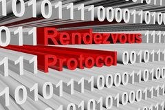 Rendezvous protocol. In the form of binary code, 3D illustration Royalty Free Stock Photography