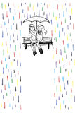 Rendezvous in the rain. Couple in love sitting on the bench. vector illustration