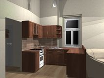 rendição 3d da cozinha Ilustração Royalty Free