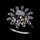 rendição 3d de um anel de diamante Fotos de Stock Royalty Free