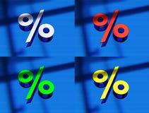 a rendição 3d de uma porcentagem assina dentro o metal em um bl Imagem de Stock