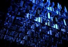 Rendição abstrata da cidade 3d com linhas e elementos digitais Arranha-céus de Digitas Conceito da tecnologia e da conexão perspe ilustração stock