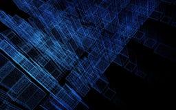 Rendição abstrata da cidade 3d com pontos e elementos digitais Conceito da tecnologia ilustração 3D ilustração do vetor